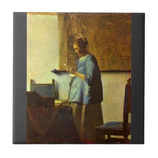 El lector de la letra de Juan Vermeer Azulejo Ceramica