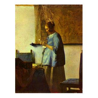 El lector de la letra de Juan Vermeer Postales