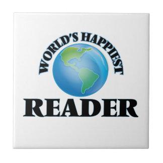 El lector más feliz del mundo azulejo cuadrado pequeño