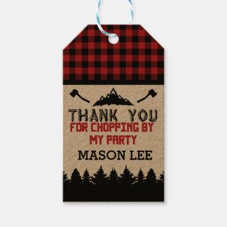 El leñador de la tela escocesa del búfalo le etiquetas para regalos