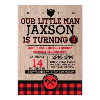 """El leñador embroma el cumpleaños, hombre rústico invitación 5"""" x 7"""""""