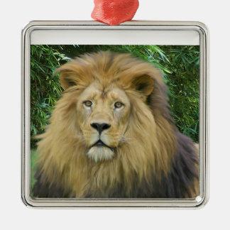 El león adorno navideño cuadrado de metal