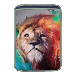 El león colorido que mira para arriba empluma el funda macbook air