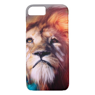 El león colorido que mira para arriba empluma el funda iPhone 7