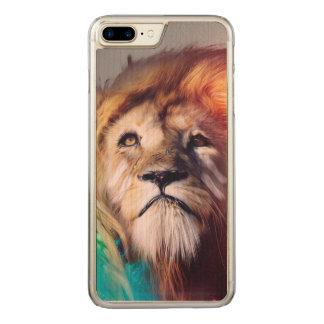 El león colorido que mira para arriba empluma el funda para iPhone 7