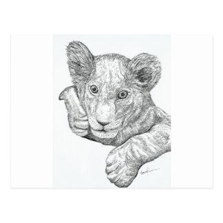 El león Cub encierra y entinta Postal