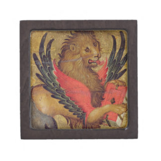 El león de St Mark (aceite en el panel) Caja De Joyas De Calidad
