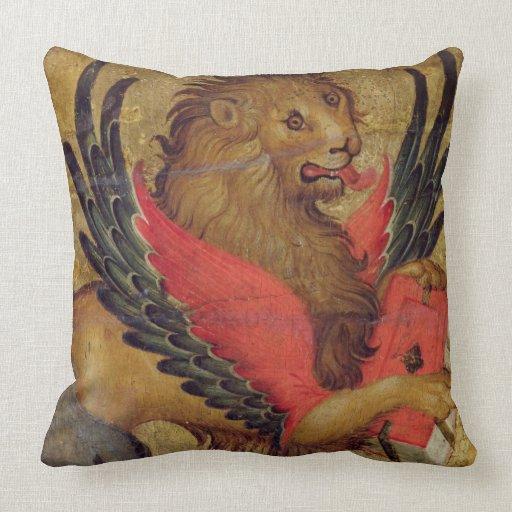 El león de St Mark (aceite en el panel) Cojines