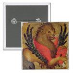 El león de St Mark (aceite en el panel) Pin Cuadrada 5 Cm