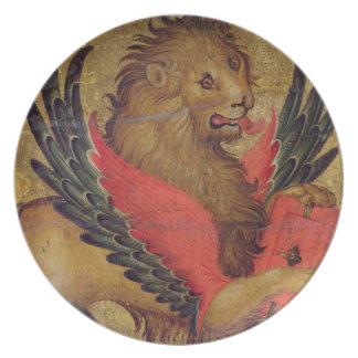 El león de St Mark (aceite en el panel) Plato