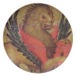 El león de St Mark (aceite en el panel) Platos