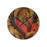 El león de St Mark (aceite en el panel) Reloj Redondo Mediano
