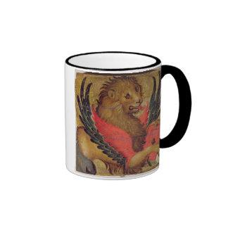 El león de St Mark (aceite en el panel) Taza De Dos Colores