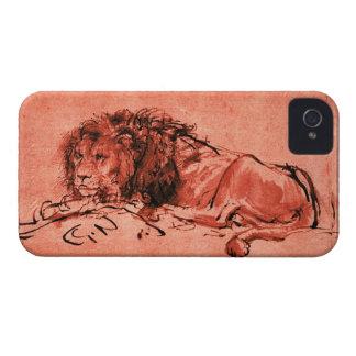 El LEÓN del CABO QUE SE ACUESTA, rojo antiguo, neg iPhone 4 Fundas