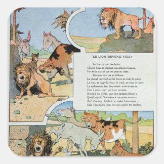 El león del envejecimiento, de las fábulas pegatina cuadrada
