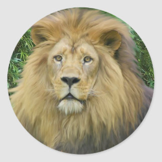 El león pegatina redonda