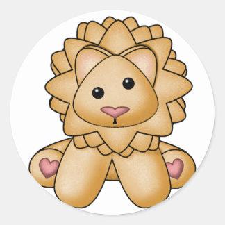 El león relleno de Lura Etiquetas Redondas