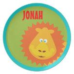 El león salvaje de la cosa embroma la placa del pe plato para fiesta
