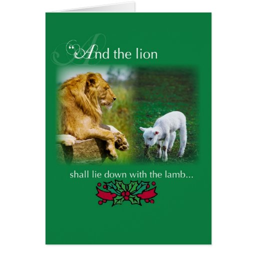 El león se acuesta con el cordero, tarjeta de