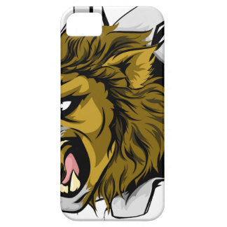 El león se divierte brecha de la mascota iPhone 5 fundas