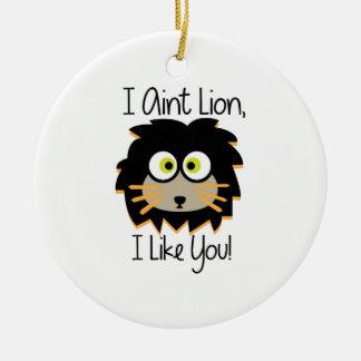 El león tiene gusto adorno redondo de cerámica