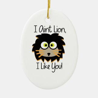 El león tiene gusto adorno ovalado de cerámica