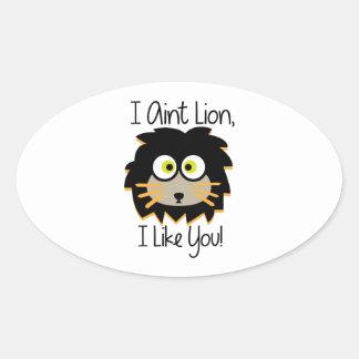 El león tiene gusto pegatina ovalada
