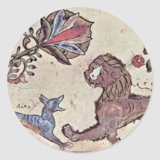 El león y el chacal Dimna de Syrischer Maler U Pegatina Redonda