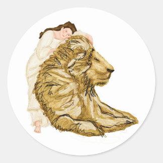 El león y la señora pegatinas redondas