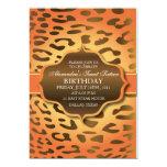 El leopardo - anaranjado y amarillo - cumpleaños invitación 12,7 x 17,8 cm