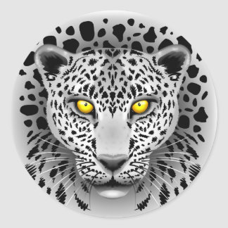 El leopardo blanco con amarillo observa alrededor pegatina redonda