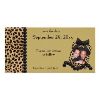El leopardo del oro y las perlas negras ahorran la plantilla para tarjeta de foto