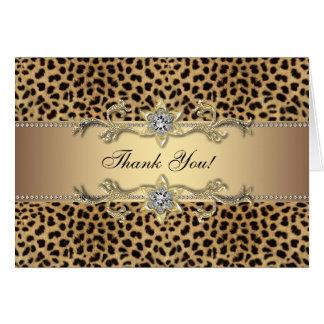 El leopardo elegante del oro le agradece las tarjeta pequeña