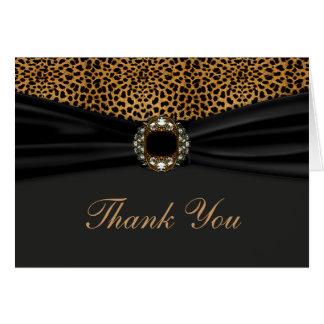 El leopardo elegante le agradece tarjeta pequeña