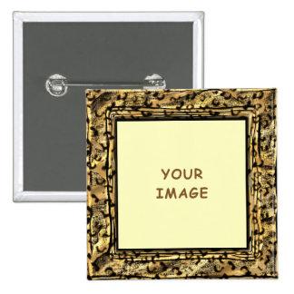 El leopardo mancha el botón del marco de la foto pin cuadrado