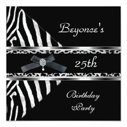 """El leopardo negro de plata de la cebra invita al invitación 5.25"""" x 5.25"""""""