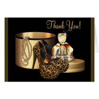 El leopardo negro del zapato del tacón alto del tarjeta pequeña