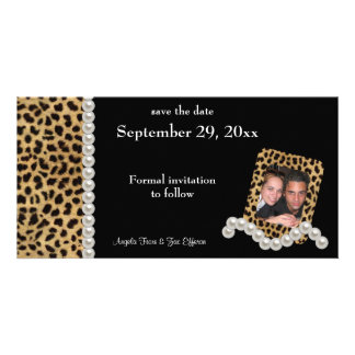 El leopardo negro y las perlas blancas ahorran la  tarjeta con foto personalizada