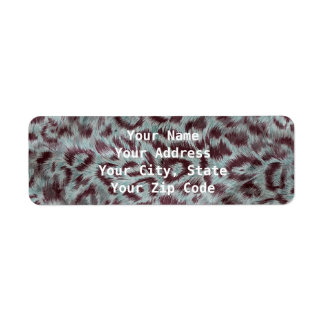 El leopardo peludo exótico mancha la berenjena etiquetas de remite