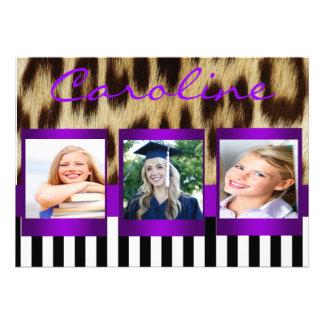 El leopardo púrpura raya al graduado que la foto i comunicados personalizados