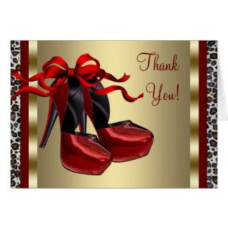 El leopardo rojo del oro de los zapatos del tacón tarjeta pequeña