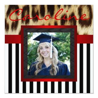 """El leopardo rojo raya al graduado que la foto invitación 5.25"""" x 5.25"""""""
