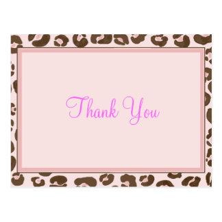 El leopardo rosado le agradece postal