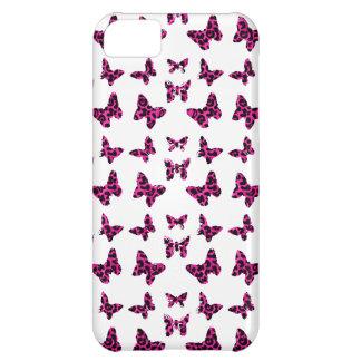 El leopardo rosado mancha el modelo de mariposas