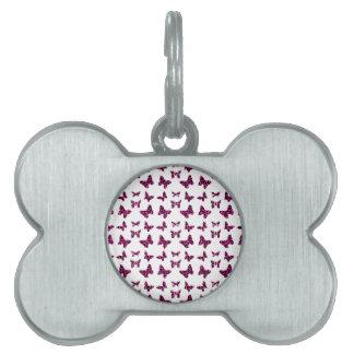 El leopardo rosado mancha el modelo de mariposas placas de mascota
