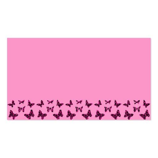 El leopardo rosado mancha el modelo de mariposas tarjetas de visita