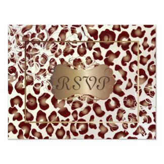 """El leopardo RSVPs del vintage requiere las Invitación 4.25"""" X 5.5"""""""