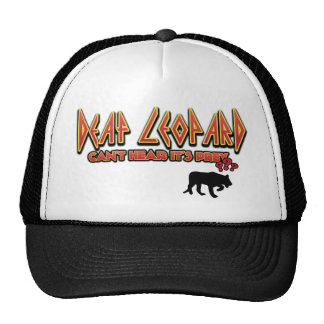 El leopardo sordo no puede oír que es presa gorro de camionero