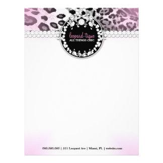 El Leopardo-Tique 311 rosado se descolora papel co Plantilla De Membrete