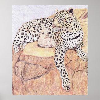 El leopardo y la cabra del bebé póster